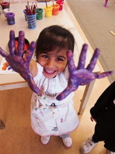 Preschool painted hands